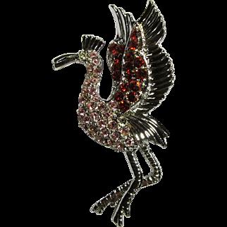 Danecraft Rhinestone Flamingo Brooch