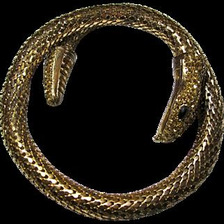 Glamorous Goldtone Snake Armlet With Topaz Rhinestone Head & Tail