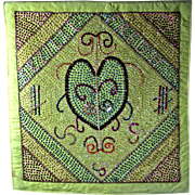 Haitian Voodoo Sequined Prayer Flag For Erzulie Freda