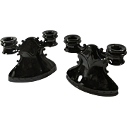 Pair of Black Glass Double Candleholders - Great For Altar - Free U.S. Shipping
