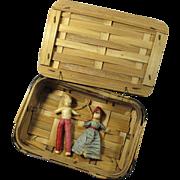 Antique Swedish Corn Husk Dolls In Basket - Folk Magic Charm