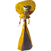 Vintage Calavera Catrina Day of the Dead Figure From Mexico - Free US Shipping