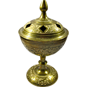 Vintage Brass & Enamel Incense Burner/Chalice From India