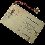 1919 Military Ball Dance Program With Tiny Bone Cat Charm