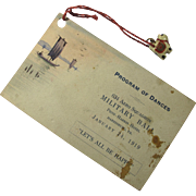 1919 Military Ball Dance Program With Tiny Bone Cat Charm