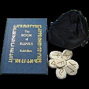 Vintage Book of Runes With Ceramic Rune Set