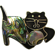 Mexican Black Cat Brooch With Alpaca Silver & Abalone Shell