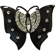 Black Japanned Metal & Rhinestone Butterfly Brooch