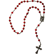 Vintage Red & Silver Rosary From Italy