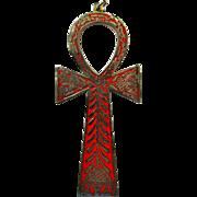 Large Silvertone & Red Enamel Ankh Pendant