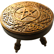 Vintage Carved Sandalwood Pentacle Offering Table