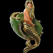 Vintage Hattie Carnegie Coral & Jade Lucite Mermaid Brooch