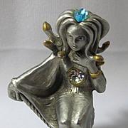 Tiny Pewter Medusa Statue