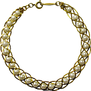 Napier Woven Chain & Imitation Pearl Bracelet