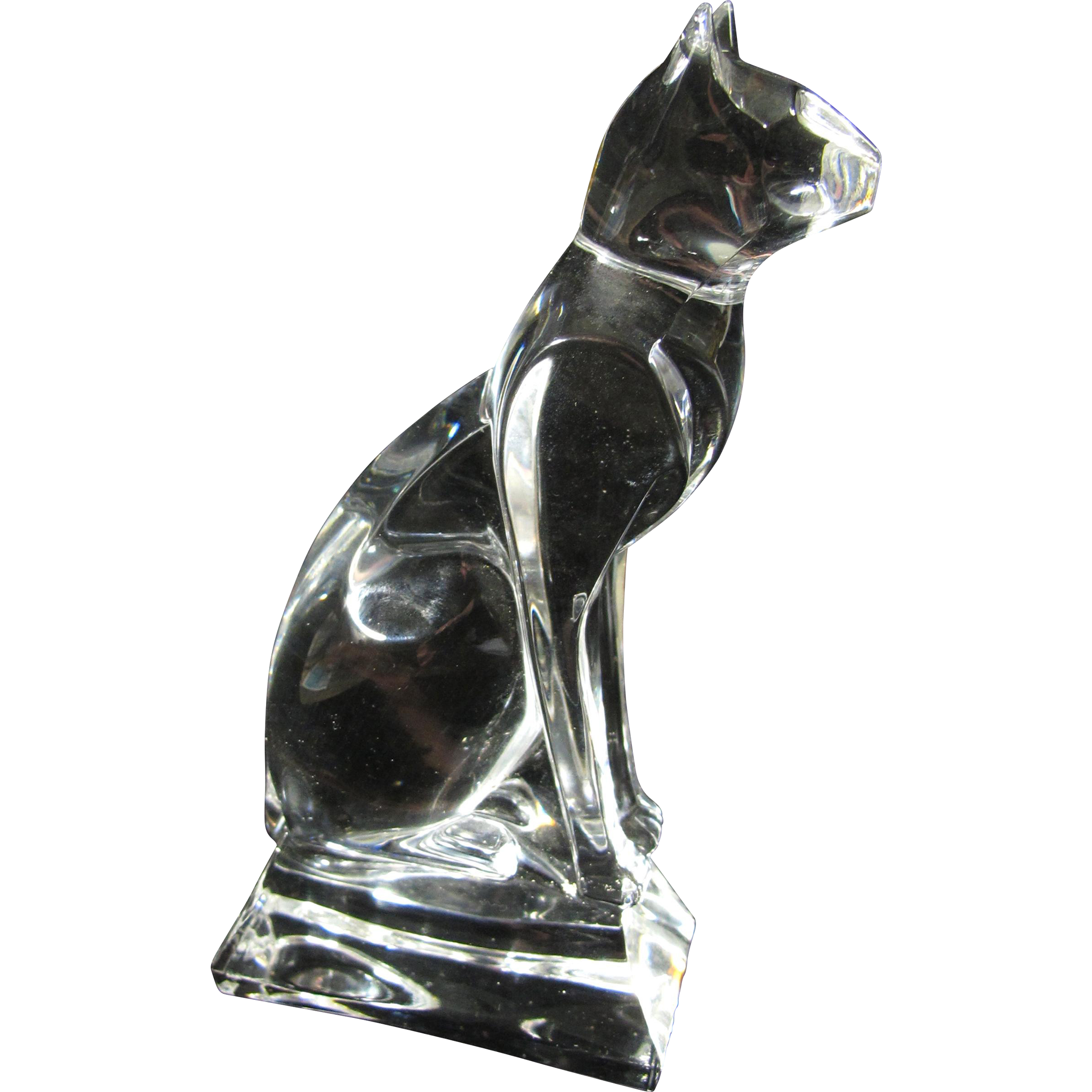Vintage Crystal Bastet Egyptian Cat Goddess Statue
