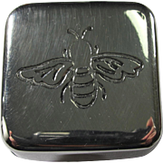 Large Silver Metal Pillbox With Engraved Bee