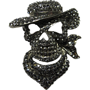 Vintage Black Rhinestone Gunslinger Skull Brooch
