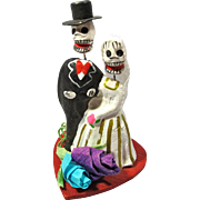 Vintage Day of the Dead Skeleton Wedding Couple From Mexico