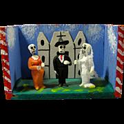 Vintage Day of the Dead Tiny Skeleton Wedding Diorama