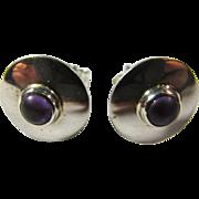 Vintage Sterling Silver & Amethyst Post Earrings