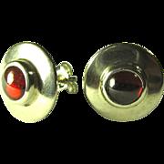 Vintage Sterling Silver & Garnet Post Earrings