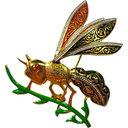 Vintage Spanish Damascene Wasp Brooch