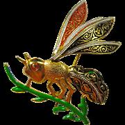 Vintage Spanish Damascene Wasp Brooch