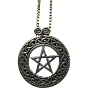 Peter Stone Sterling Pentacle Necklace With Celtic Knotwork