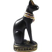 Vintage Handmade Black Bastet Cat Goddess Statue From Egypt
