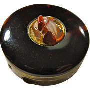 Vintage Bakelite-Topped Pillbox With Agate Inset