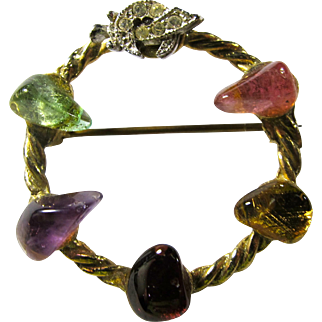 1950s Mystic Shriners Circle Brooch With Semiprecious Stones