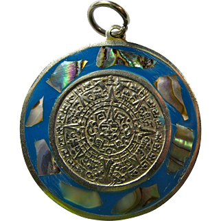 Vintage Aztec Calendar Pendant With Abalone Chips & Blue Enamel