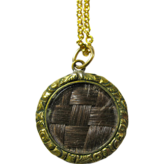 Tiny Victorian Mourning Pendant With Woven Hair