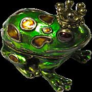 Vintage Monet Frog Prince Cloisonne Pill Box