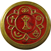 Vintage Unitarian Brass Pill Box With Red Enamel