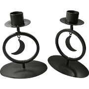 Pair of Vintage Black Metal Crescent Moon Candle Holders - Free US Shipping