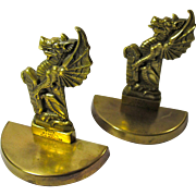 Vintage Pair of Brass King's Dragon Bookends