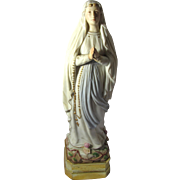 "Vintage Porcelain Blessed Virgin Mary of Lourdes Statue 13.5"" Tall"