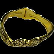 1940s Double Snake Clamper Bracelet With Black Enamel