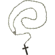 Vintage White Beaded Rosary With Sterling Silver Cross & Connector