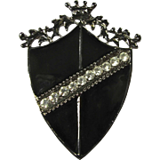 1950s Black Enamel Shield Brooch With Crown & Rhinestones