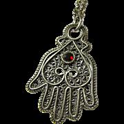 Vintage Sterling Filigree Hamsa Hand Necklace With Garnet