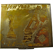 1950s New York City Pillbox or Compact With Mirror