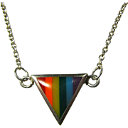Vintage Sterling & Enamel LGBT Rainbow Triangle Necklace By Peter Stone