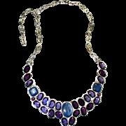 Vintage Sterling, Amethyst, & Kyanite Bib Necklace
