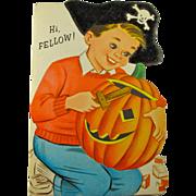 40% OFF! 1950s Pirate Boy Halloween Card - Unused