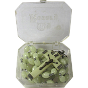 Vintage Phosphorescent Rosary In Original Box From Italy