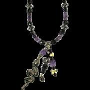 """Damballah & Ayida"" PZBaubles Handmade Necklace of Amethyst, Onyx, & Snake Bone - Red Tag Sale Item"
