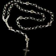 """Mourning Lena"" Handmade Jet Rosary With Handmade Whitby Jet Cross"