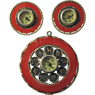 1960s Mode-Art Pendant/Earring Set With Inset Compasses & Zodiac Wheel